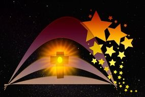 christmas greeting card, lighting cross and stars at dark background