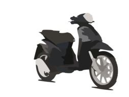 scooter, greyscale illustration