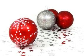 Christmas balls lie on the stars