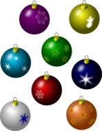 bright colored christmas balls