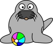 Seal with the colorful ball clipart