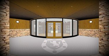 design of the entrance to the business center in London