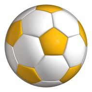 painted yellow-white soccer ball