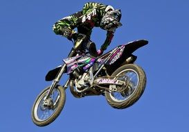 extreme stunt on a motorcycle in the air