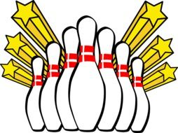 drawn bowling pins