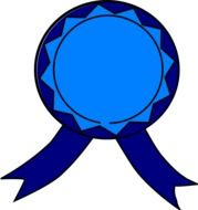 graphic image of a bright blue medal