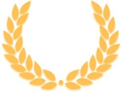 graphic image of a golden laurel wreath