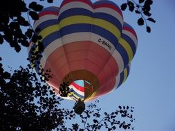 striped colorful hot air balloon