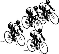 bike cyclists at competition, illustration