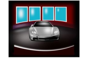 sports car in a car dealership as a graphic image