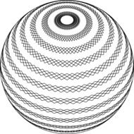 Black and white drawing of the spiral sphere clipart
