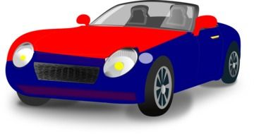 painted red and blue car