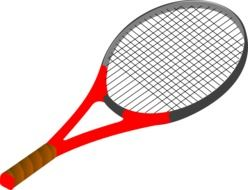 gray-red tennis racket