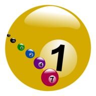 yellow billiard ball with the number one