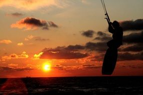 kite surfing sunset