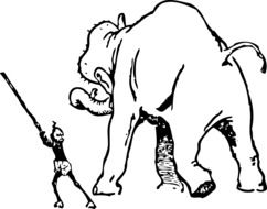 Black and white drawing of the elephant and trainer clipart
