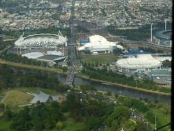 aerial view of sports grounds in melbourne