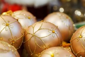 golden-colored Christmas decorations