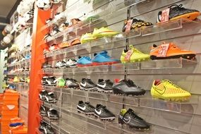 rack with a variety of sports shoes