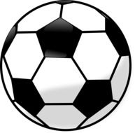 black and white drawing of a soccer ball