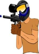 paintball, man shooting with gun, illustration