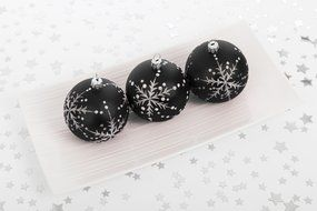 black and white photo Christmas balls