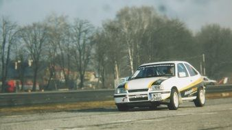 white opel for rally