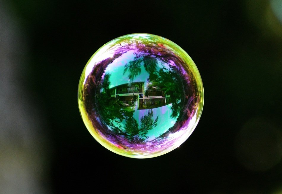 Colorful soap bubble on a dark background