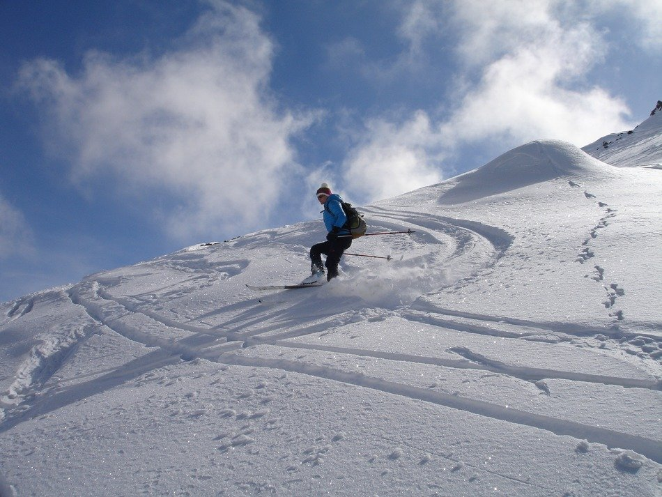 snowboarder on a snowy slope