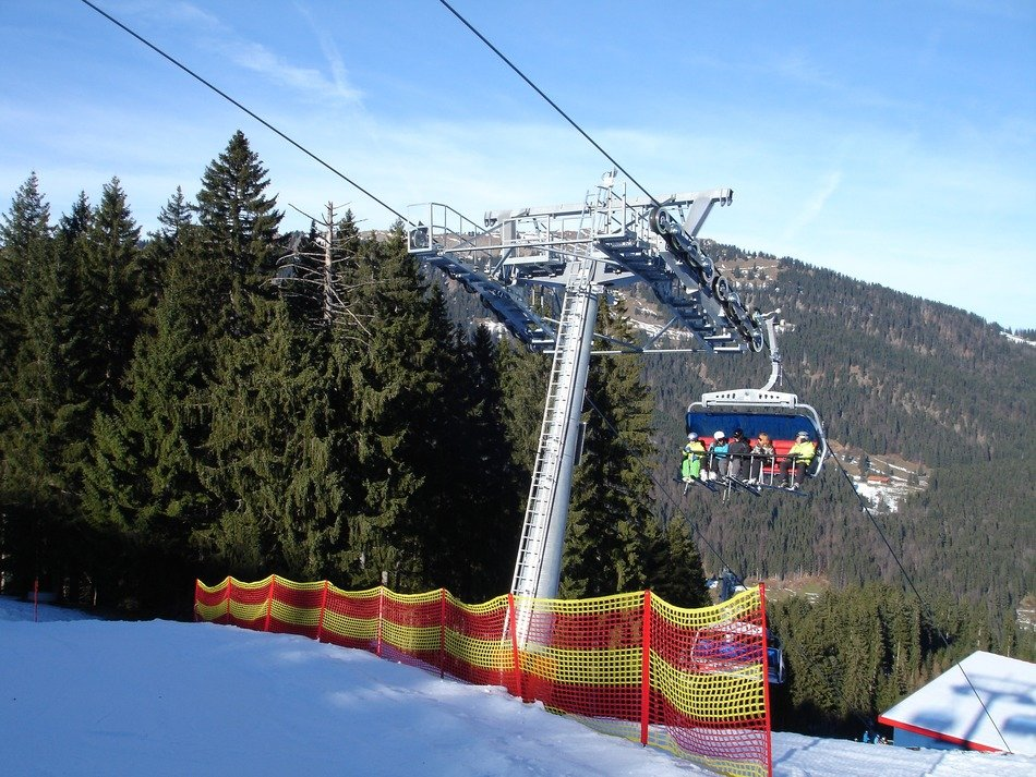 ski lift on a mountain peak