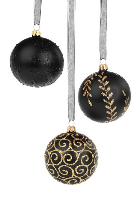 black with gold balls Christmas decoration