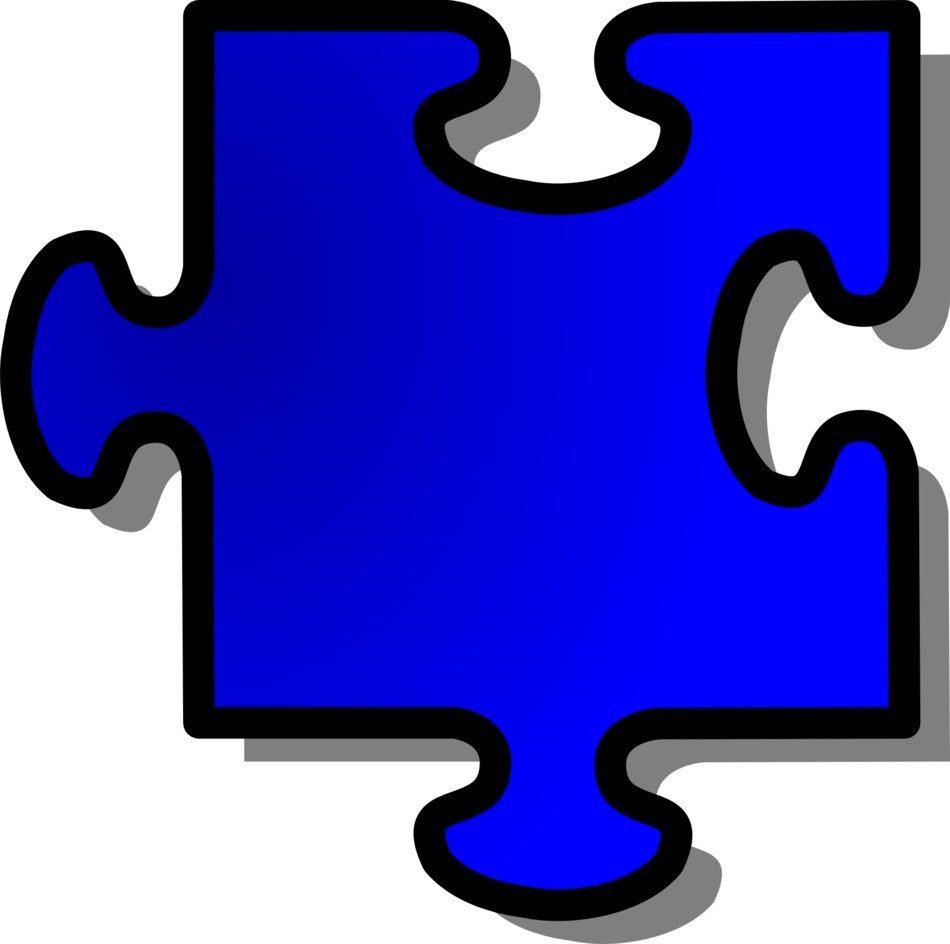 blue puzzle piece as a drawing