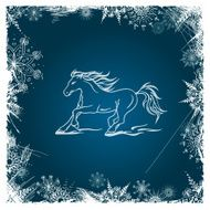 New Year card with horse framed by snowflakes N2