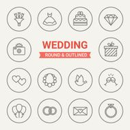 Set of round and outlined wedding icons