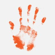 Hand print on grey background