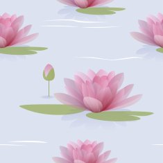Seamless pattern with waterlilies
