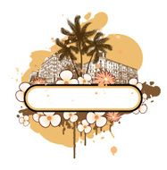 Banner with palm trees and flowers N2