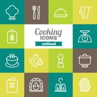 Set of flat outlined cooking icons N2