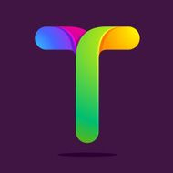 T letter one line colorful logo