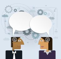 Vector illustration business people with speech bubble social network