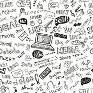 Social Media Word Icon seamless pattern Doodle sketchy N2