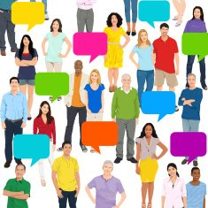 Vector of Multiethnic People and Speech Bubble