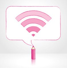 Pink Pencil Drawing Digital WiFi Icon in Rectangular Speech Bubble N2