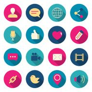 Chat color icons set vector illustration