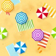 Colorful beach umbrellas and towels at the sand seamless pattern