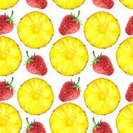 Watercolor seamless pattern with slices of pineapple and strawberry