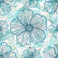 Ornate blue flowers on abstract triangles