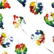 beautiful pattern of colorful leaves rainbow colors painted in watercolor