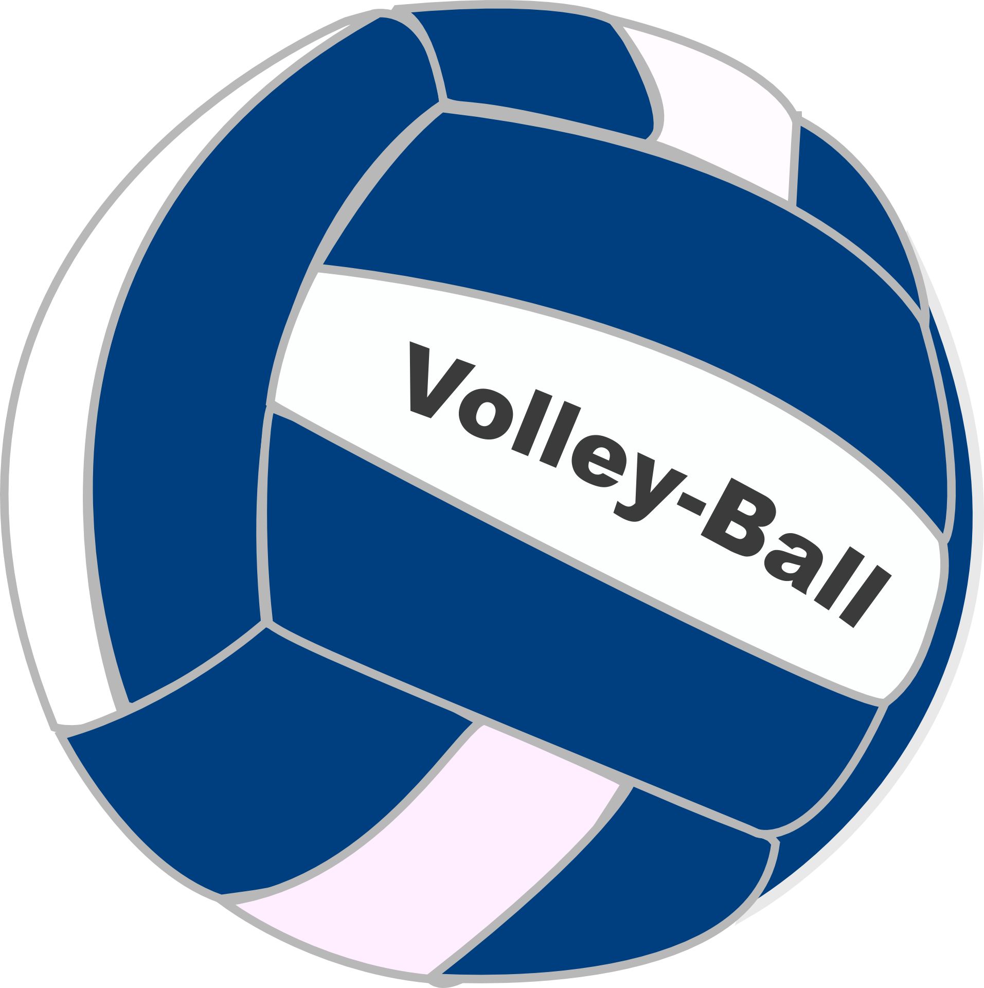 Volleyball With Blue White Stripes Drawing Free Image