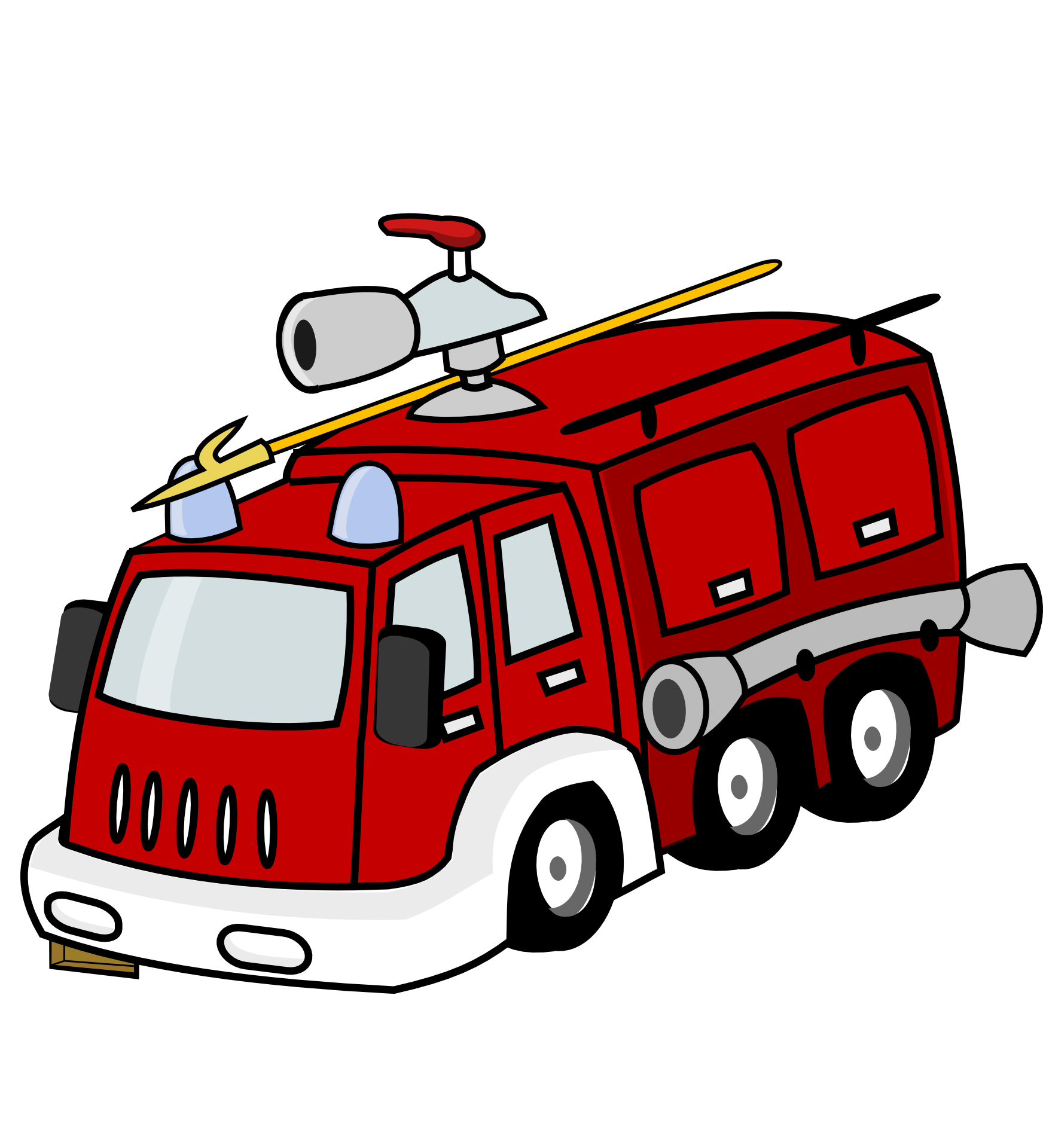Drawing Fire Truck On A White Background Free Image